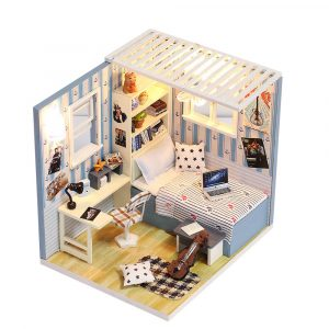 Iiecreate M-008 Barbatello House DIY Dockhus Med Möbler Lätt Cover Gift Toy