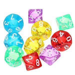 10-tums D10 tio sidig pärla tärningsmusik dö för RPG Dungeons & Dragons Games Set