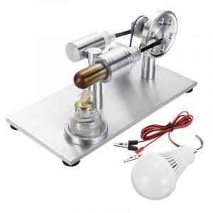 Metal Stirling Motor Modell Extern Förbränning Med Lampa Utvecklande Toy