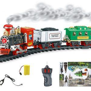 Elektrisk Fjärrkontroll simulering Järnväg Tåg Laddningsbar Steambil Rökning Modell Ladugård Julklapp