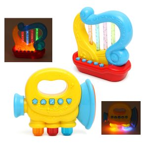 Baby Spädbarn Mini Magic Hand Trompet Harpa LED Musik Educational Barnleksaker