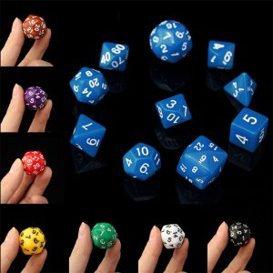 10pc / Set D4-D30 Flersidiga tärningar TRPG Spel Gaming Tärningar 8Color