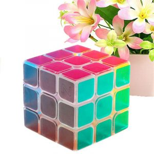 Classic Magic Cube Leksaker 3x3x3 PVC Sticker Block Pussel Speed ​​Cube Pink Clear