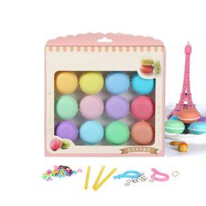 12st Macaron Crystal Slime Fluffy DIY Squishy Bubblar Anti-stress Kids Toy