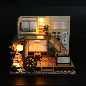 DIY Dockhus Miniatyr Trä Möbler LED Kit Japanese Style Handcraft Toy Dockhus Gift