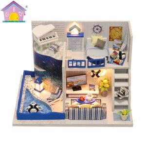 Hoomeda M040 DIY Dockhus Ljudet av havet Miniatyrmöbler Med Cover Music Gift Collection 18cm