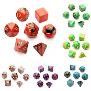 7pc / Set TRPG-spel Gaming Tärningar D4-D20 Flersidiga Tärningar 6Color
