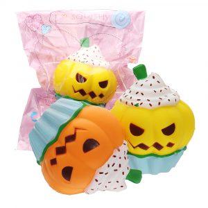 3PCS Halloween Pumpkin Ice Cream Squishy 13 * 10cm långsammare mjuk leksak med förpackning