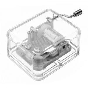 Mrosaa Handväxande Mini Transparent Akryl Musik Box Födelsedagsgåva