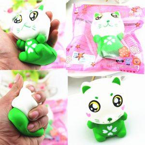 11,5cm PU Corful Green Cat Slow Rising Squishy Decompression Leksaker Med Original Förpackning