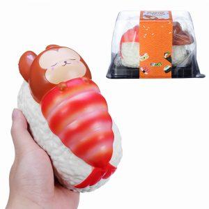 Yummiibear Squishy Foxy och räkor Blanket Jumbo Sushi Toy långsamt stigande med förpackningsbox