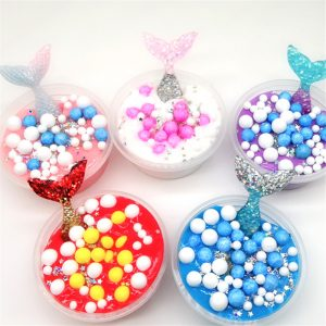 60ML Slime DIY Mermaid Cotton Mud Skum Ball Ocean Crystal Dekompression Mud DIY Gift Toy