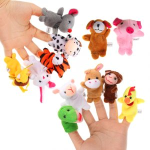 12PCS Animal Finger Dockaar Fyllda Plysch Toy Kinesiska Zodiac Mjuka Cloth Animal Docka Baby Story Toys