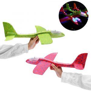 48cm 19 '' Handlansering Kasta Flygplan Flygplan Glider DIY Tröghets EPP Plane Toy Med LED Light