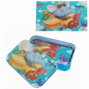 60st DIY Pussel Elephant Pilot Planet Cartoon Jigsaw Med Tenn Box Kids Children Educational Gift Toy