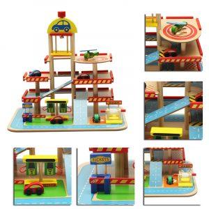 Montering simulering Stor Stereo Tre lager Trä Parkeringsplats Spår Uppsättning För Barn Leksaker Närvarande