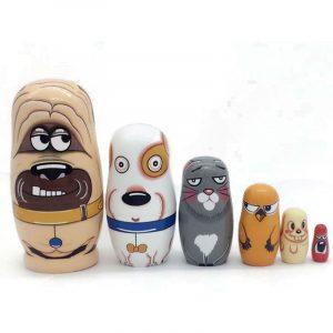 6 st trä ryska Nesting Docka Handgjorda Matryoshka handmålade barnleksaker