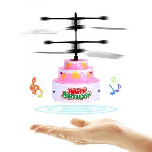 Mini RC Infrared Induction Helicopter Flying Födelsedagstårta Blinkande Ljusleksaker för barn