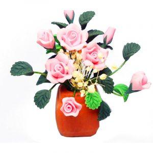 1:12 Dockhus Miniature DIY Garden Clay Blommor Arrangemang Pink Rose Red Pottery Basin Plant
