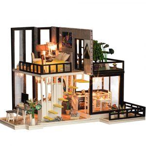 iiecreate K-033 September Fores DIY Dockhus Med Möbler Lätt Cover Gift Toy