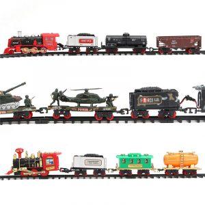 Elektrisk uppladdningsbar ångdammtåg modell lastbil bil spår leksaker fjärrdrag