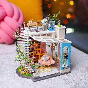 Robotime DG12 Doras Loft DIY Dockhus 27 * 23 * 22cm med Miniatyr Möbler Present Insamling