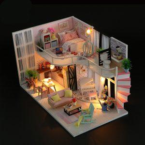 Hoomeda M035 DIY Dock House Anna's Pink Melody With Cover Musik Rörelse 28cm Presentkort Leksaker