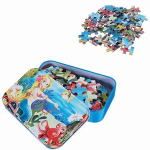 60st DIY Pussel Mermaid Cartoon 3D Jigsaw Med Tenn Box Barn Barn Utbildning Gift Collection Toy