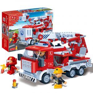 Brandbekämpningsstege Lastbil Tegelstenar Pedagogisk Byggnad Blocks Leksak Modell Kompatibel med Le Go