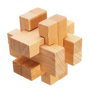 Kong Ming Lock Leksaker Barn Kids Assembling 3D Puzzle Cube Utmaning IQ Brain Wooden Toy