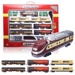 Electric Classic Train Rail Vehicle Leksaker Set Track Music Light Operated Vagnar Educational Gift