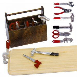 1/12 Dockhus Miniatyr Trälåda Med Metal DIY Tool Set Kit Toy