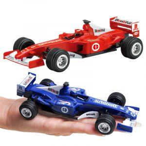 Barn Toy Vehicles Draga tillbaka Bil Mini Formel Racing Bil Samla Instruktionsspår Leksaker