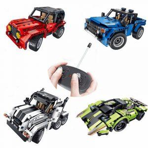 Teknik Grupp Byggstenar Montering Leksaker Pussel Barn Fjärrkontroll Bil