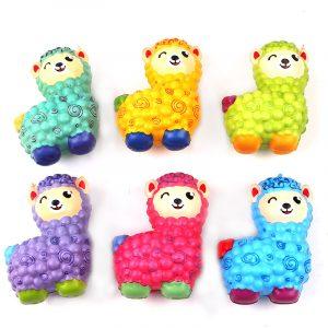 10,5 * 7,5cm Squishy Alpaca Slumpmässig färg Mjuk långsam stigande leksak med packningsväska