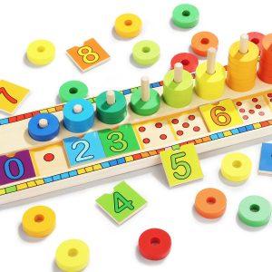 Topp Ljus -6540 Blocks Montessori Klassisk Matematik Regnbåge Donuts Låda Pedagogisk Leksaker för ladugård