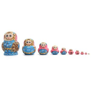 10st handmålade blå dockor Ställ trä ryska Nesting Babushka Matryoshka