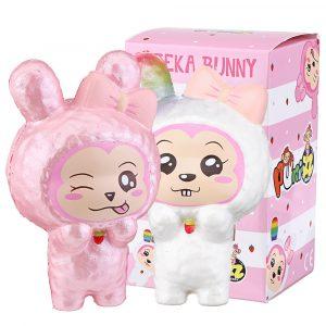 Puni Maru Squishy Cheeka Bunny Kanin Med Gulrot Licensierad Slow Rising With Original Packing