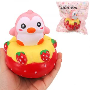 NEJ NEJ Squishy Strawberry Penguin 13 * 11cm långsammare med Packaging Collection Gift Soft Toy