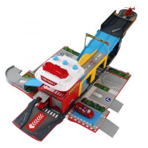 2 i 1 Modellbyggnad omvandlings Bil fart Flygplats Byggnad Leksak Med Ljud