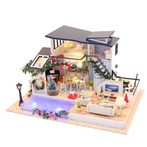Hoomeda 13849 DIY Dock House Mermaid Tride Miniature Furnish 35cm Med Cover Music Movement