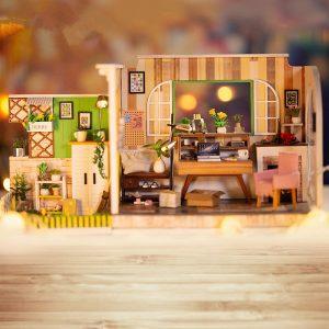 iiE SKAPA DIY Dockhus H-001 Göteborg Studio med möbler Musik Ljusöverdrag 30 * 12 * 16.2CMGift Decor Collection