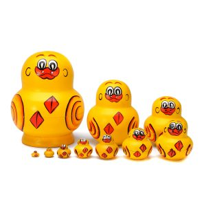 10PCS / SET Handmålade ryska Nesting Docka Decor Mini Wooden Duck Animal Toys Presenter