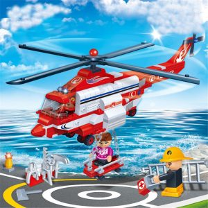 Stad Brand Helikopter Brandman Byggnadsblock Leksaker Tegel Ladugård Ladugård Leksaksmodell