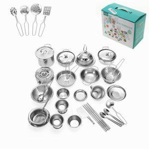ENPEI 40PCS Mini Köksartiklar Play Set Kök Pan Pot Dish Rostfritt Barn Kids Rollspel Toy Gift