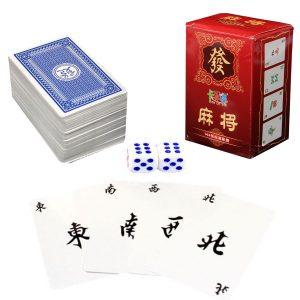 Bärbar Mah Jong 144 Papper MahJong Kinesiska leka kort Game Travel Set med tärningar