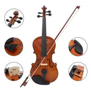 1/4 Stora Violin Fiddle Basswood Stål String Med Arbor Bow För Nybörjare B5O5
