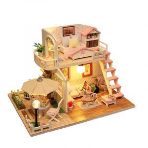 Hantverk  DIY Docka Hus  Tid Kafé Leksak Trä miniatyr Möbler LED Ljus Gåva