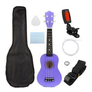 21 tums ekonomisk sopran Ukulele Uke musikinstrument med gig bag Strings Tuner Purple