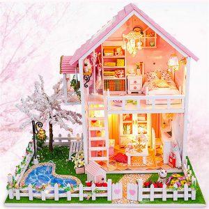 CuteRoom DIY Trä Dollhouse Miniatures Körsbärsträd Under Varm Julfödelsedagsgåva